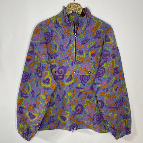 Vintage Crazy Pattern Fleece Pullover Quarterzip Unisex 80's 90's (XL-XXL)