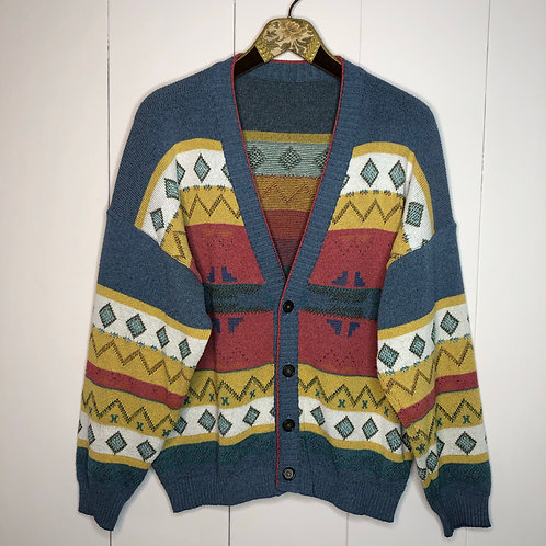 Vintage Strick Jacke Cardigan Bunt 80's 90's (M-L)