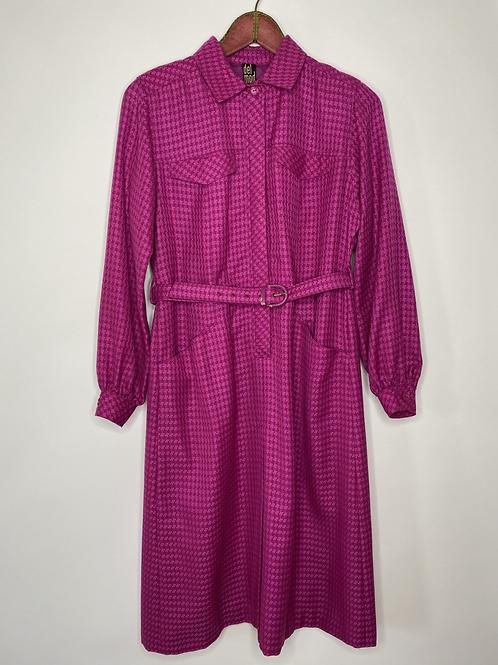 Vintage Kleid Langarm Delmod Pink 80's 90's (L)