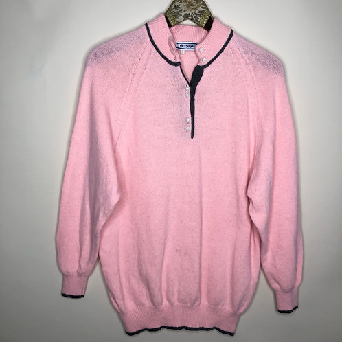 Vintage Woll Pullover Rosa Lachs 80's 90's (M)