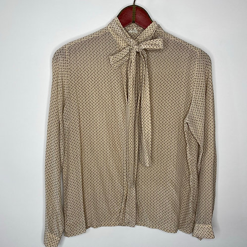 Vintage Bluse Seide Beige 80's 90's (S-M)