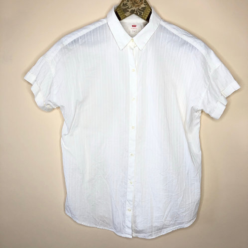 Vintage Baumwoll Bluse kurzarm Levi's Weiß 80's 90's (S-M)