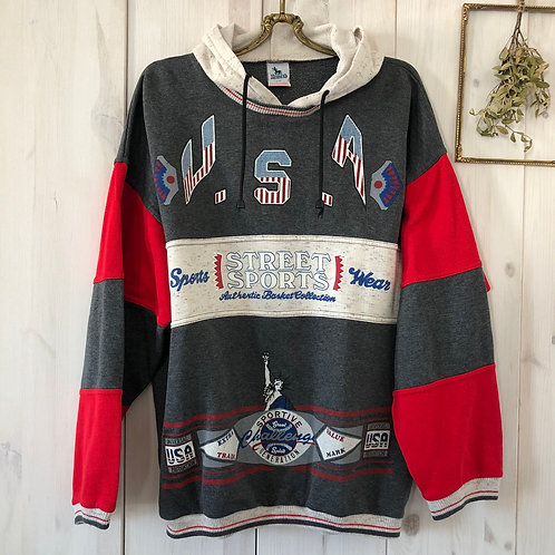 Vintage Sweater Hoodie Pullover USA Print 80's 90's (M)