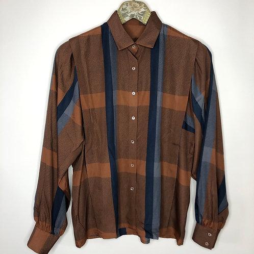 Vintage Bluse Braun Blau 80's 90's (S)