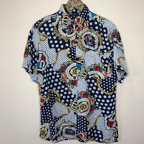 Vintage Crazy Pattern Bluse Seide Unisex 80's 90's (M)