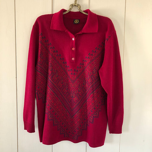 Vintage Woll Pullover Aztec Rot 2000's (M)