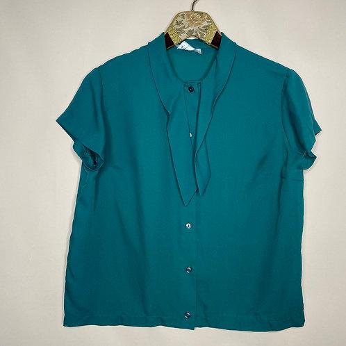Vintage Bluse Grün Schleife 80's 90's (S-M)