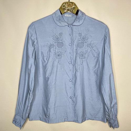 Vintage Bluse Seide Grau 80's 90's (S-M)