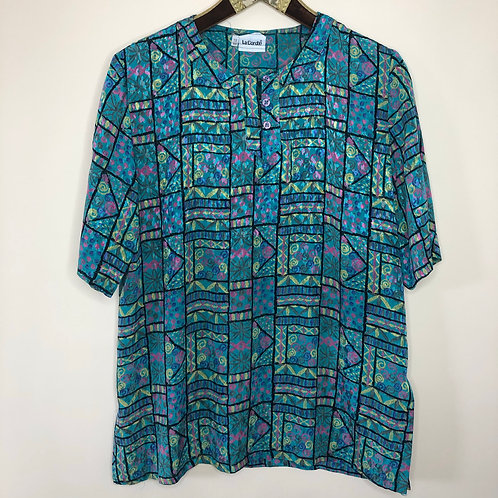 Vintage Shirt Crazy Pattern Unisex 80's 90's (L)