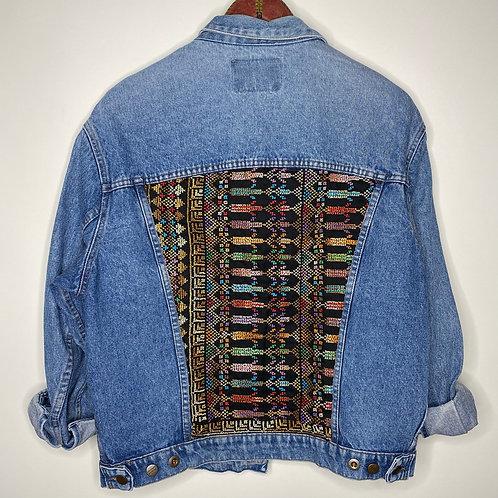 Vintage oversized Jeans Jacke mit Boho Stoff Unisex 80's 90's (M-L)