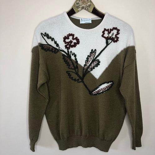 Vintage Woll Pullover Blumen 80's 90's (M)