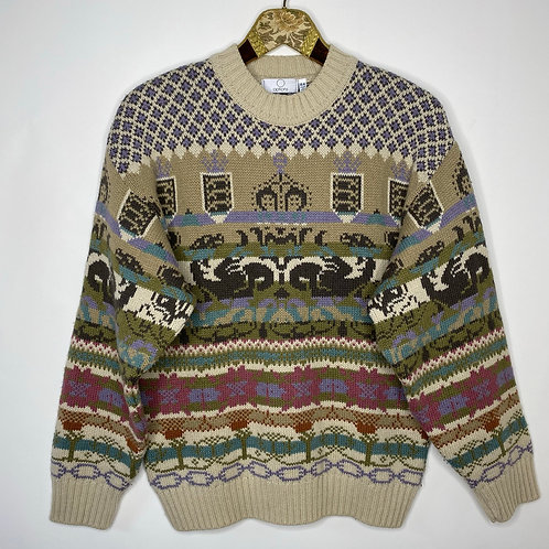 Vintage Strickpullover Crazy Pattern 80's 90's (M)
