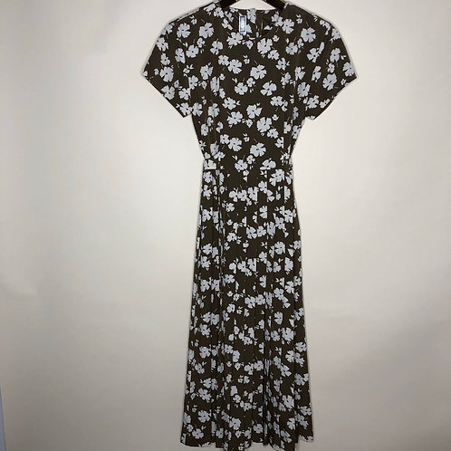 Vintage Kleid Kurzarm Maxi Flowers 80's 90's (XS)