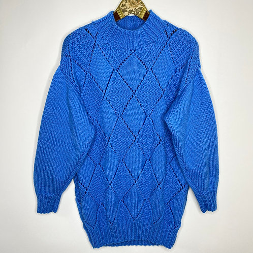 Vintage Strickpullover Handmade Blau 80's 90's (L)