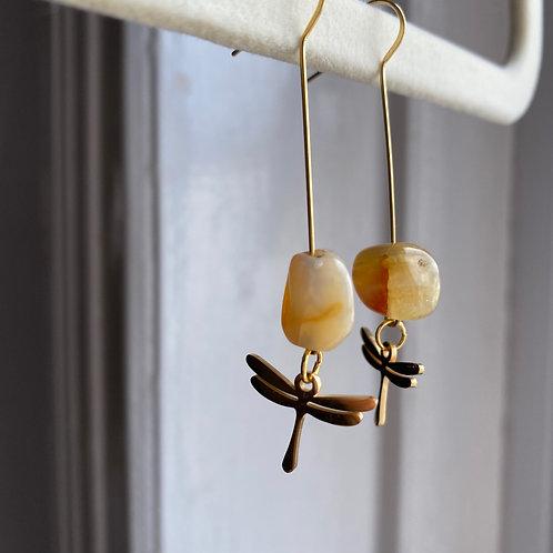 Handmade Ohrringe Stein mit Libelle