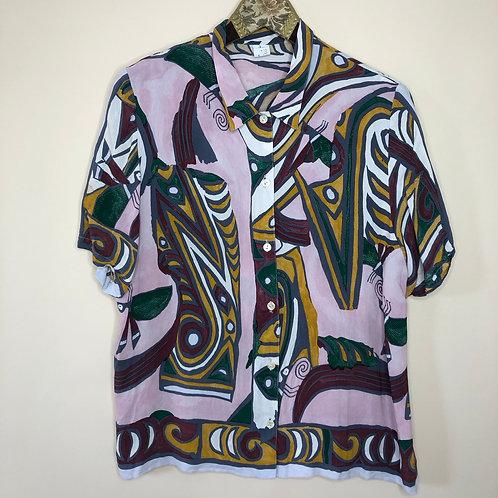 Vintage Crazy Pattern Bluse Kurzarm 80's 90's (M)