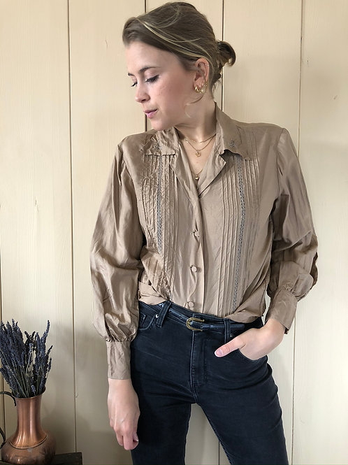 Vintage Silk Blouse Taupe 80's 90's (S)