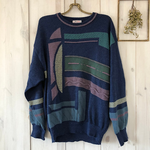 Vintage Crazy Pattern Sweater Pullover Knitwear Unisex 80's 90's (S-M)