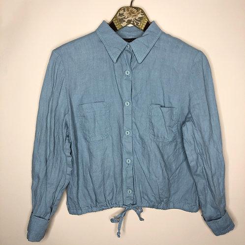 Vintage Leinen Bluse Blau 80's 90's (S-M)