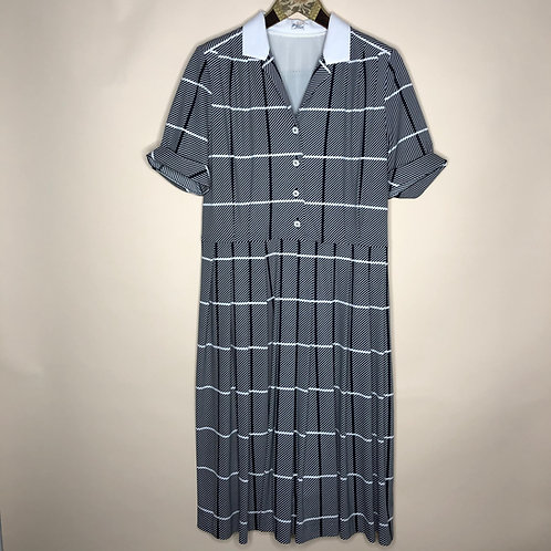 Vintage Kleid Maxi Kurzarm S/W 80's 90's (S)