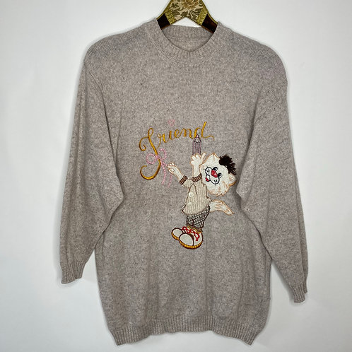 Vintage Strickpullover Katze Unisex 80's 90's (L)