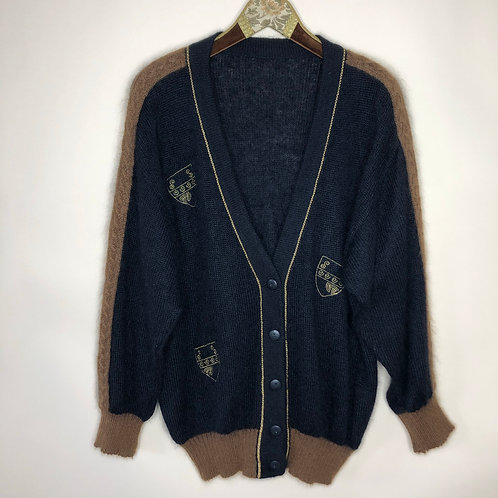 Vintage Strick Cardigan Wolle Mohair 80's 90's (L)