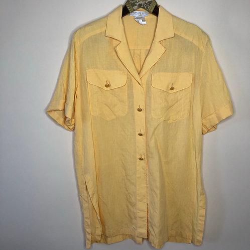Vintage Bluse Leinen Escada Gelb 80's 90's (M-L)