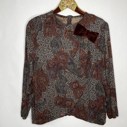 Vintage Shirt Bluse Samt Schleife 80's 90's (S)