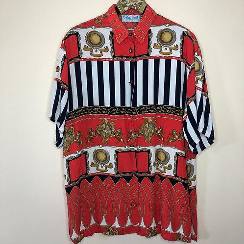 Vintage Seiden Bluse Barock Kurzarm Unisex 80's 90's (L)