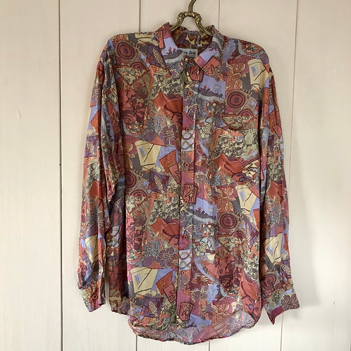 Vintage Crazy Pattern Silk Shirt Unisex 80's 90's (L-XL)