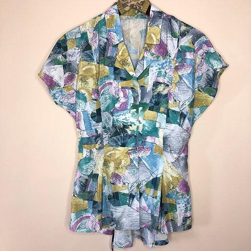 Vintage Crazy Pattern Bluse 80's 90's (S-M)