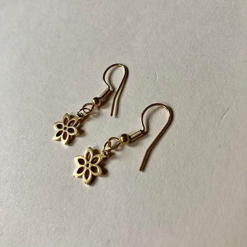 Handmade Ohrringe Blume Gold