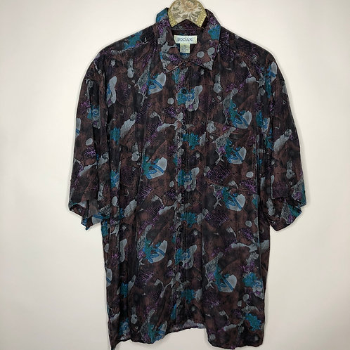 Vintage Hemd Seide Kurzarm Crazy Pattern 80's 90's (XL) Unisex