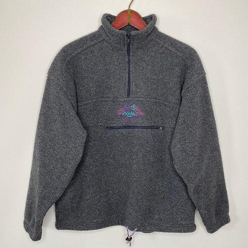 Vintage Fleece Pullover Grau Unisex 80's 90's (L-XL)