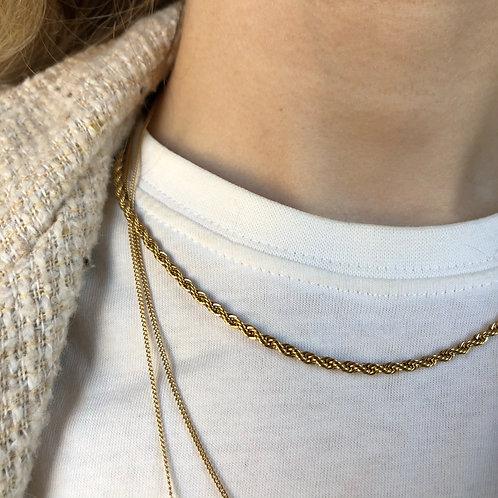 Twisted Kette Edelstahl Gold