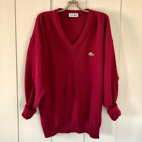 Vintage Strickpullover Lacoste Rot 80's 90's (M-L)