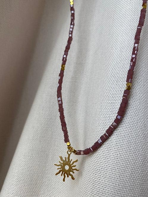 Handmade Kette Sonne Flieder