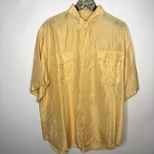 Vintage Hemd Seide Kurzarm Gelb Unisex 80's 90's (M-L)