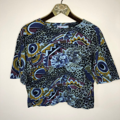 Vintage Crazy Pattern Cropped Shirt Baumwolle 80's 90's (M)