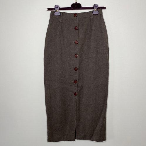 Vintage Pencil Skirt Braun Schurwolle 80's 90's (S)