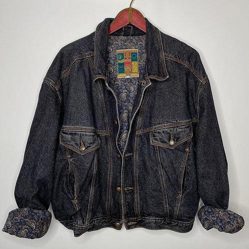 Vintage Oversized Jeans Jacke Print Innen Unisex 80's 90's (L-XL)