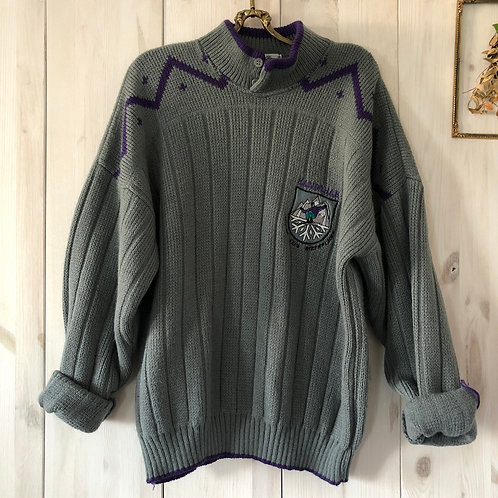 Vintage Woll Pullover Knit Grau Unisex 80's 90's (S-M)