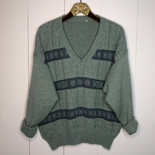 Vintage Strick Pullover Wolle 80's 90's (L-XL)