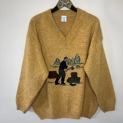 Vintage Strick Pullover Wolle Gelb Holzfäller 80's 90's (L-XL)