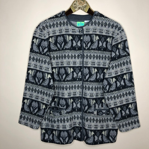 Vintage Fleece Cardigan 80's 90's (M)