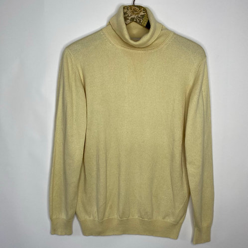 Vintage Rollkragen Pullover Pastellgelb 80's 90's (L)