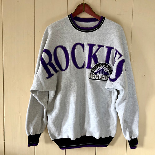 Vintage Baseball Oversize Sweater Rockies Unisex 80's 90's (L-XL)