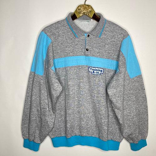 Vintage Sweater mit Bubikragen Grau Hellblau Unisex 80's 90's (S-M)
