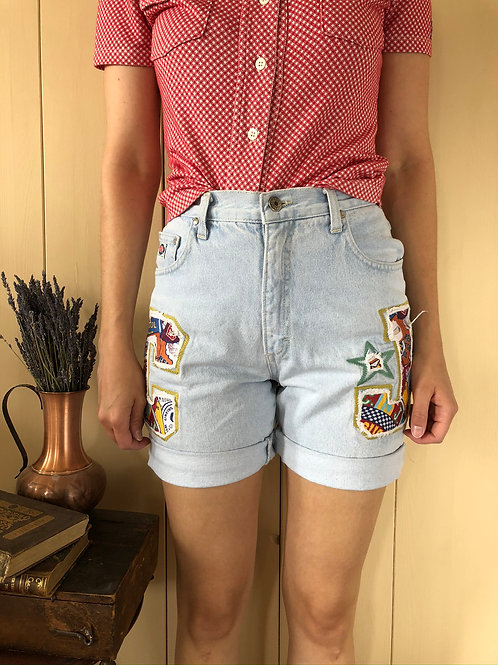 Vintage Highwaist Shorts Patches 80's 90's (S)