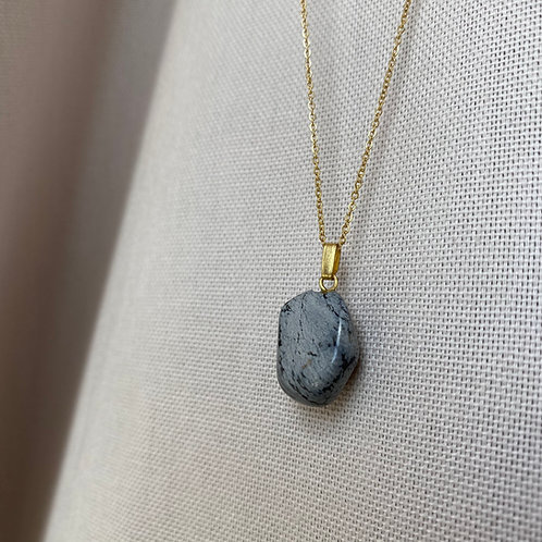 Kette 14k vergoldet mit Obsidian Stein